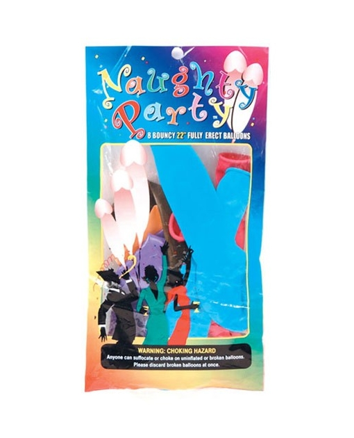 "22 ""Naughty Party Penis Balloons - Asst. Colors Pack of 8"