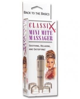 Classix Mini Mite Massager w/4 Heads - White