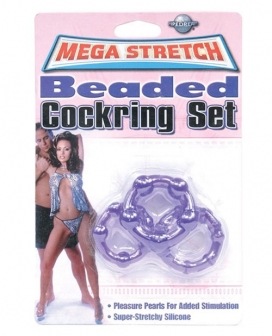 Mega Stretch Bead Cockring Set - Purple