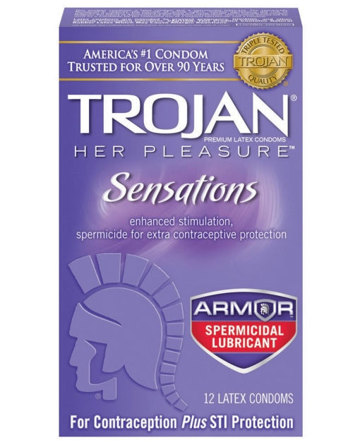Trojan Her Pleasure Spermicidal Lubricant Condoms - Box of 12