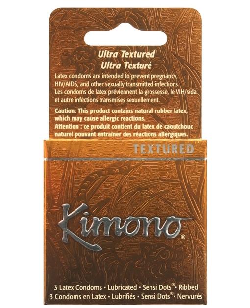 Kimono Textured Ribbed+Sensi Dots Condom - Box of 3