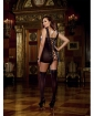 Lace Garter Dress w/Stretch Trim Straps - Satin Ribbon Back & Attached Stockings Blk QN