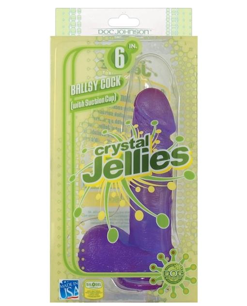 "Crystal Jellies 6"" Ballsy Cock - Purple"