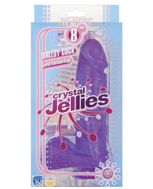 "Crystal Jellies 8"" Ballsy Cock - Purple"