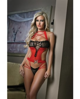 Cut Out Teddy w/Dazzling Straps & Contrasting Lace Black/Red O/S
