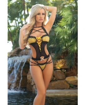 Cut Out Teddy w/Dazzling Straps & Contrasting Lace Black/Yellow O/S