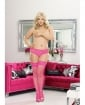 Stay Up Fishnet Thigh Highs w/Back Seam (Black Light) Hot Pink QN
