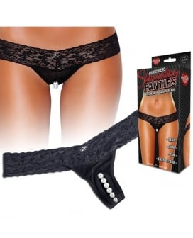 Hustler Stimulating Panties w/Pearl Pleasure Beads Black M/L