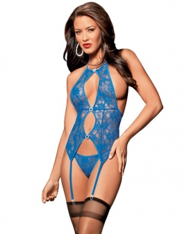 Jeweled Lace Bustier, Panty & Thigh Highs Royal O/S