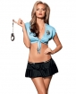 Sexy Cop Top, Skirt, Panty, Badge, & Cuffs Blue/Black O/S