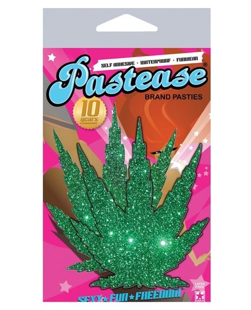 Pastease Green Glitter Marijuana Leaf O/S