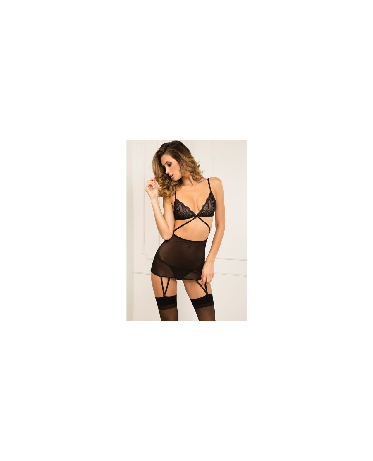 Rene Rofe Lace Top Garter Chemise & G-String Set Black S/M
