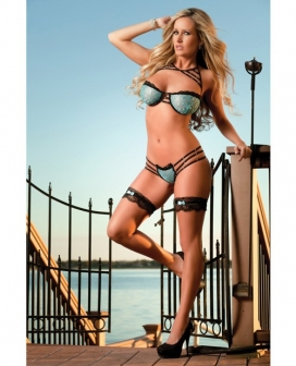Lacy Bra w/Wired Cups w/Strappy Detail, Thong, Gloves & Leg Garters Azure O/S