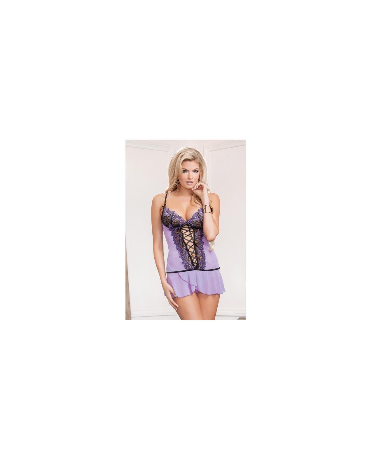 Cross Dye Lace & Flutter Hem Chemise Lavender SM