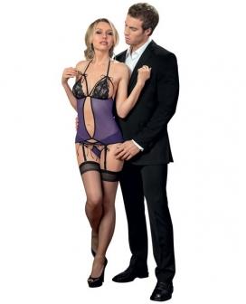 Halter Tie Bustier w/Ribbon Tie Cups & Panty w/Hose Purple/Black O/S