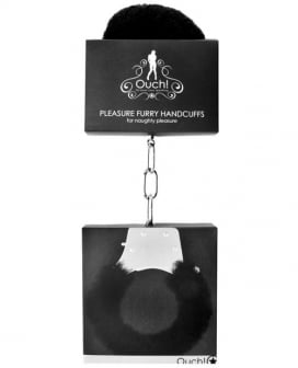 Shots Ouch Furry Pleasure Handcuffs - Black