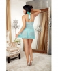 Stretch Lace Galloon Halter Babydoll w/Satin Bows & Lace Tanga Panty Aqua 3X/4X