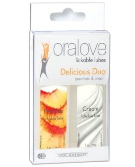 Oralove Delicious Duo Flavored Lube - Peaches & Cream