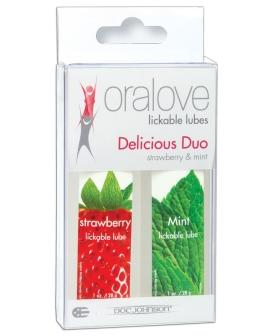 Oralove Delicious Duo Flavored Lube - Strawberry & Mint