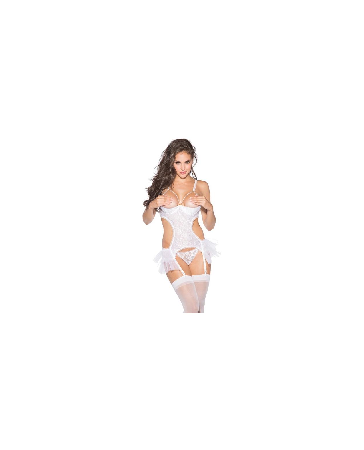 Lace & Net Babydoll w/Hose, Adjustable Straps & G-String White XL