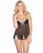 Lace Overlay & Mesh Babydoll w/Underwire Cups & G-String Black/Ivory XL