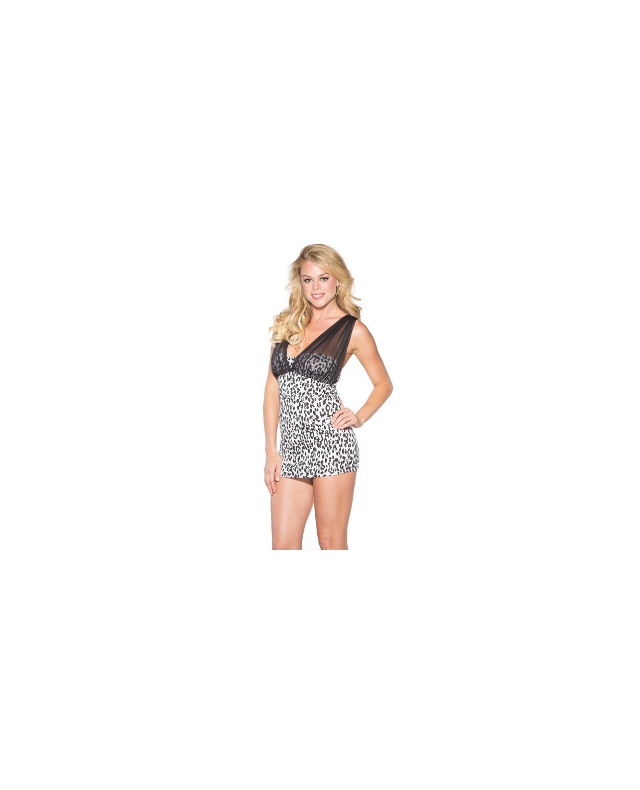 Snow Leopard Dress w/Mesh Adjustable Straps & G-String Black/White 2X