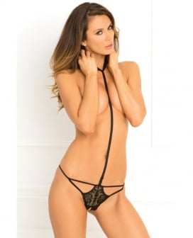 Rene Rofe Bedroom Ready Crotchless Teddy Black SM