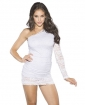 One Shoulder Dress w/Lace Overlay White 2X