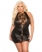Kitten Lace & Wet Look Dress Black QN