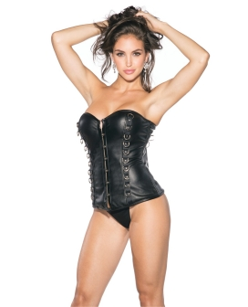 Pleather Bustier w/Padded Cups & Front Hook & Eye Closure Black 2X