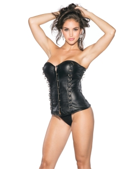 Pleather Bustier w/Padded Cups & Front Hook & Eye Closure Black MD