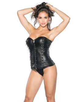 Pleather Bustier w/Padded Cups & Front Hook & Eye Closure Black XL