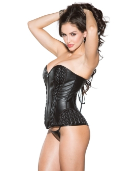 Faux Leather Corset w/Lace Up Back & G-String Black XL