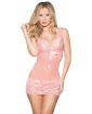 Mesh & Lace Chemise w/Bow Pink LG
