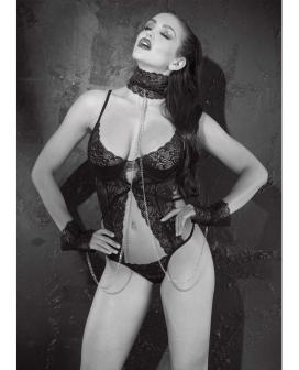 Stretch Lace Thong Teddy w/Underwire Cups, Collar & Cuffs Black XL