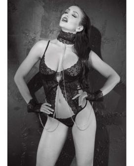 Stretch Lace Thong Teddy w/Underwire Cups, Collar & Cuffs Black LG