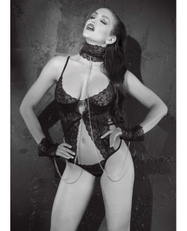 Stretch Lace Thong Teddy w/Underwire Cups, Collar & Cuffs Black MD