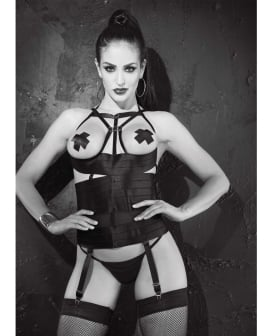 Satin Elastic Strppy Open Bust Bstier w/Remvable & Adjustable Grters, Pasties G-String Black 36