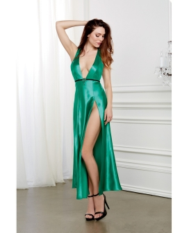 Holiday Satin Gown w/Removable Jewelled Pin Emerald XL