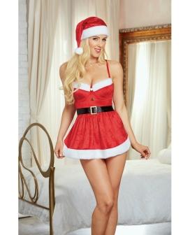 Holiday Stretch Velvet Apron Chemise w/Hat Lipstick Red LG