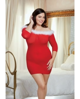 Holiday Sheer Knit Chemise w/Marabou Trim Lipstick Red QN