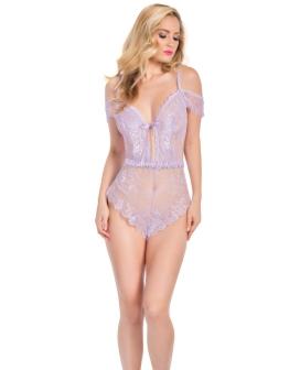 Aline Off The Shoulder Lace Romper w/Tie Front Lilac S/M