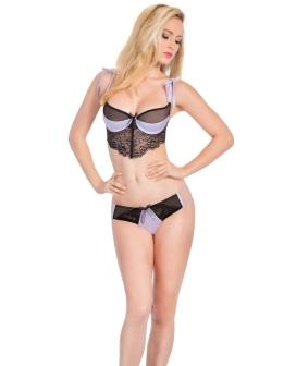 Chloe Satin Bra & Hipster Panty w/Front Lace Detail Lilac/Black XL
