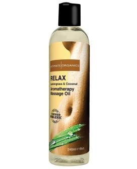 Organic Relaxing Massage Oil - 8 oz Coconut & Lemongrass