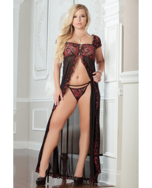 Flirty Front Open Gown w/Thong Ruby 3X/4X