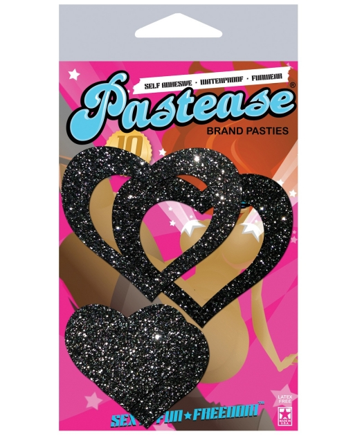 Pastease Glitter Peek a Boob Hearts - Black