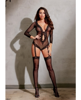 Stretch Fishnet Lng Sleeved Romper w/Ribbn Tie Frnt Clsure, Atched Grters & Thighs High Black O/S