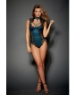 Stretch Satin Teddy w/Underwire Cups & Lace Overlay, Tie Back Collar & Snap Crotch Black/Teal XL