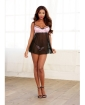 Stretch Lace & Spandex-Mesh Babydoll w/Underwire & Adjust Straps & Thong Black/Vintage Pink MD