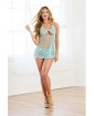 Stretch Lace & Mesh Babydoll w/Back Lacing, Boning & Halter Tie Closure & G-String Aqua SM